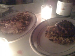 Almond-Chicken with saffron-currant cous cous